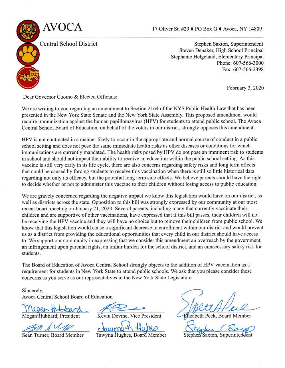 Board of Education Letter to Elected Officials