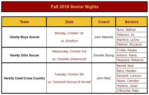 Fall 2018 Senior Night Info