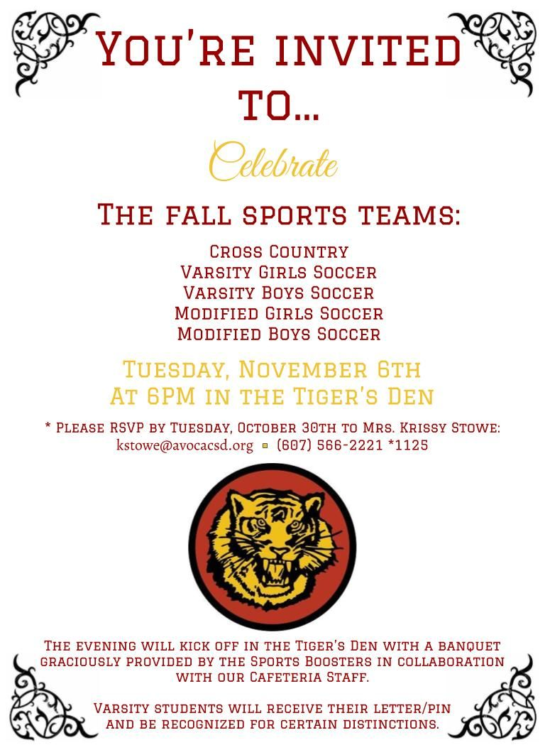 Fall Sports Banquet Invitation