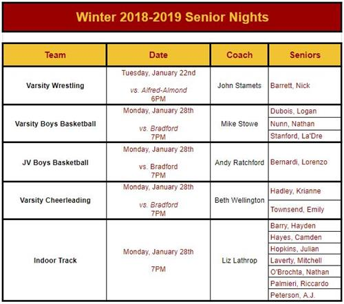Winter Senior Night Info.